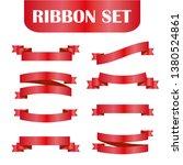 red ribbons set. vector design... | Shutterstock .eps vector #1380524861
