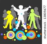light children's silhouettes... | Shutterstock . vector #13805677
