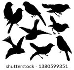 Stock vector wall sticker black and white graphic collection set of silhouettes of birds on a white background 1380599351