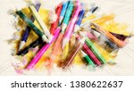 closeup of colored pencils on... | Shutterstock . vector #1380622637