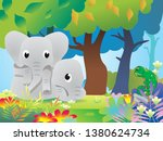 cute two elephant and chameleon ... | Shutterstock .eps vector #1380624734