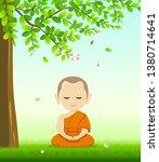 monk buddhism meditation sit... | Shutterstock .eps vector #1380714641