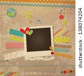 scrap template with photo frame ... | Shutterstock .eps vector #138074204