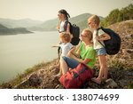family afternoon on the lake...   Shutterstock . vector #138074699