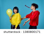 holiday woman man air balloon ... | Shutterstock . vector #1380800171