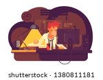 tired man working in night... | Shutterstock .eps vector #1380811181