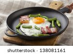 fried egg with bacon and string ... | Shutterstock . vector #138081161