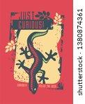 shirt design with gecko lizard. ... | Shutterstock .eps vector #1380874361