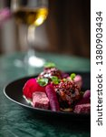 meat with beetroots in bbq... | Shutterstock . vector #1380903434