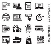 online shopping icons. black... | Shutterstock .eps vector #1380943844