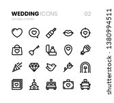 wedding line icons with...