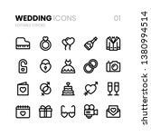 wedding line icons with... | Shutterstock .eps vector #1380994514