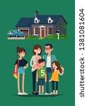 happy family standing in front... | Shutterstock .eps vector #1381081604