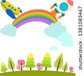 sky rainbow summer day wallpaper | Shutterstock .eps vector #1381083467