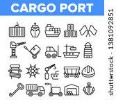 cargo port vector thin line...