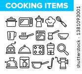 cooking items vector thin line... | Shutterstock .eps vector #1381093001