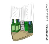 bottle and can of beer on table ... | Shutterstock .eps vector #1381103744