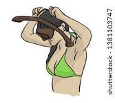 woman with bikini wearing... | Shutterstock .eps vector #1381103747