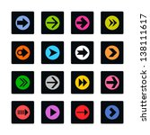 arrow icon set sign in white...