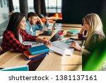group of university students... | Shutterstock . vector #1381137161