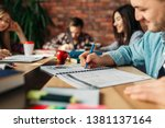 group of students studying at... | Shutterstock . vector #1381137164