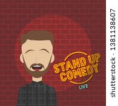 stand up comedy cartoon theme... | Shutterstock .eps vector #1381138607