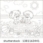 happy little kids playing with... | Shutterstock .eps vector #1381163441