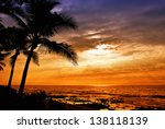 Hawaiian Sunset With Tropical...