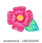 Closeup of big flower with pink petals and green leaves yellow center plant in blossom represented a handdrawn way on raster illustration