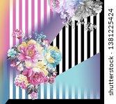 flowers pattern.silk scarf... | Shutterstock . vector #1381225424