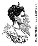 Queen Wilhelmina, 1880-1962, she was the queen of the Netherlands, vintage line drawing or engraving illustration