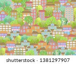 cityscape illustration. cute... | Shutterstock .eps vector #1381297907