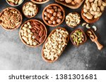Mix Of Nuts In Wooden Bowls On...