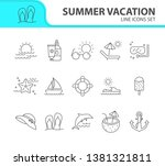 summer vacation line icon set.... | Shutterstock .eps vector #1381321811