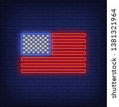 american flag neon sign. usa ... | Shutterstock .eps vector #1381321964