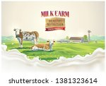 two cows in the background of... | Shutterstock .eps vector #1381323614