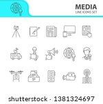 media icons. line icons... | Shutterstock .eps vector #1381324697