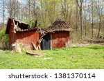 Old Red Painted Farmhouse With...