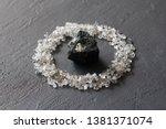 scattered diamonds on a black... | Shutterstock . vector #1381371074