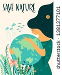 save nature. earth day. vector... | Shutterstock .eps vector #1381377101