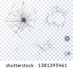 cracked glass. set of vector... | Shutterstock .eps vector #1381395461