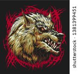 illustration of angry wolf head ... | Shutterstock .eps vector #1381399451