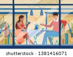 flat young romantic couple in... | Shutterstock .eps vector #1381416071