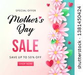 mother's day sale banner with... | Shutterstock .eps vector #1381450424