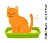 cartoon cat pooping in litter... | Shutterstock .eps vector #1381495034