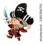 cartoon scene with pirate man... | Shutterstock . vector #1381506701
