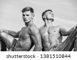 attractive twins relaxing. men... | Shutterstock . vector #1381510844