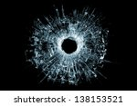 Small photo of bullet hole in glass - authentic gunshot - closeup isolated on white