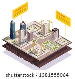 city skyscrapers isometric... | Shutterstock .eps vector #1381555064
