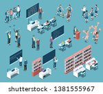 isometric set with students in... | Shutterstock .eps vector #1381555967